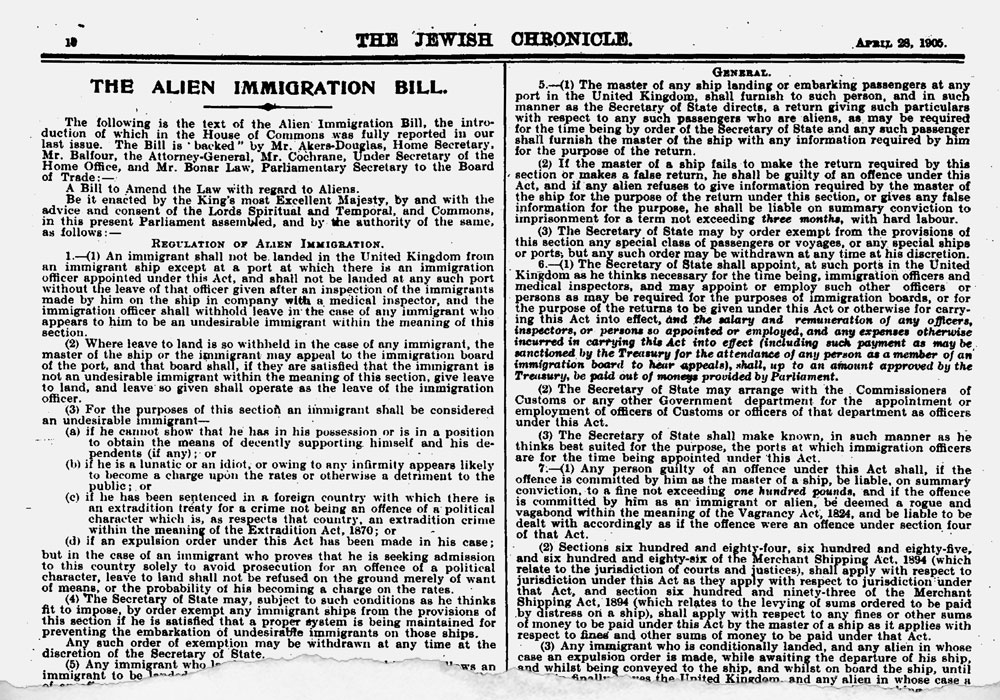 Jewish Chronicle, 28 April 1905, detailing the terms of the Aliens Act.© the Jewish Chronicle