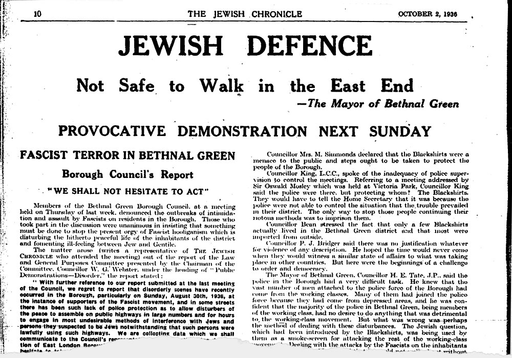 The Jewish Chronicle issued stark warnings of the violence to come and urged people to keep off the streets, 2 October 1936. © Jewish Chronicle